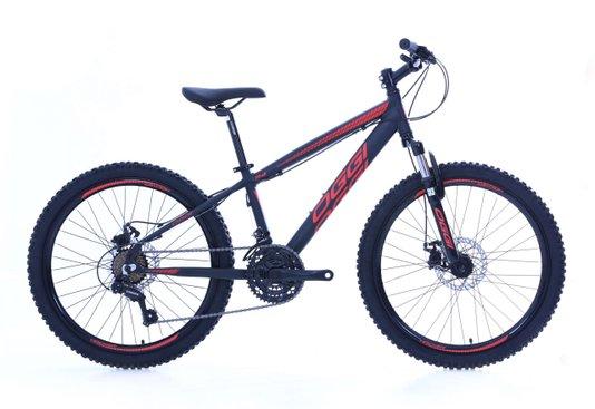 Bicicleta Oggi Hacker Aro 24 Shimano 2021 Preto e Vermelho