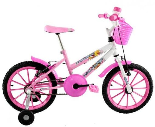 Bicicleta Dalannio Milla Aro 16 Pink e Branco
