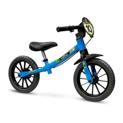 Bicicleta Infantil Nathor Balance Aro 12 Azul e Preta