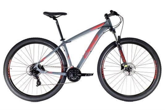 Bicicleta Oggi Hacker HDS Aro 2021 24v Cinza e Vermelha