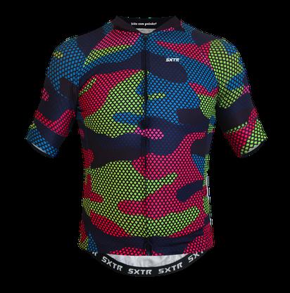 Camisa Sport Xtreme Slim Cargo Preto e Rosa e Verde