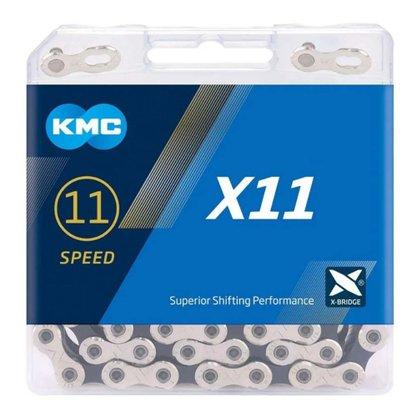 Corrente KMC X11 11 Velocidades Prata e Preta
