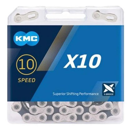 Corrente KMC X10 10 Velocidades Prata e Preta